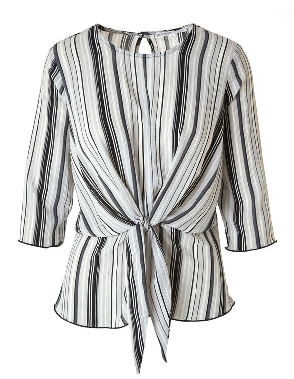 Grey Striped Tie Peplum Blouse, Grey, hi-res