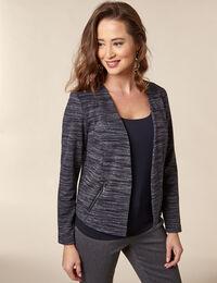 Navy Stripe Zip Pocket Blazer