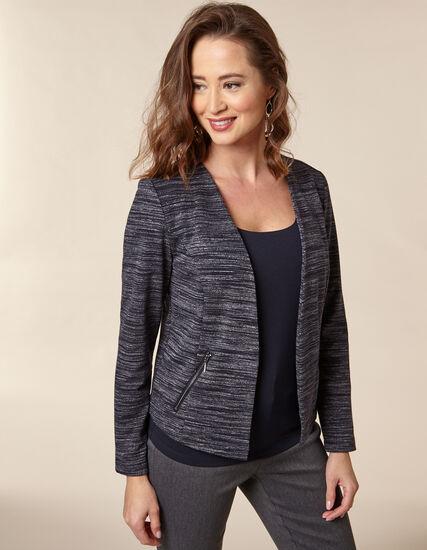 Navy Stripe Zip Pocket Blazer, Navy, hi-res