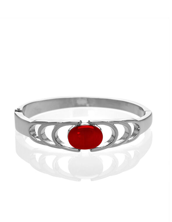 Red Cat Eye Hinge Bracelet, Red, hi-res