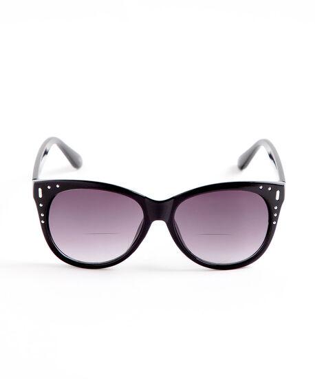 Black Stud Detail Bi-Focal Sunglasses, Black, hi-res