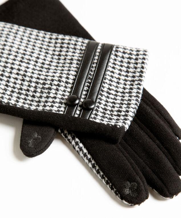 Houndstooth Button Trim Gloves, Black/Ivory, hi-res
