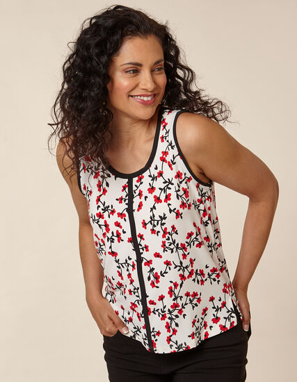 Poppy Floral Printed Top, Red/Neutral, hi-res
