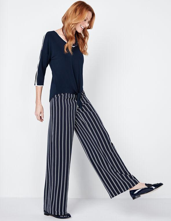 Wide Leg Soft Stripe Pant, Navy/White, hi-res