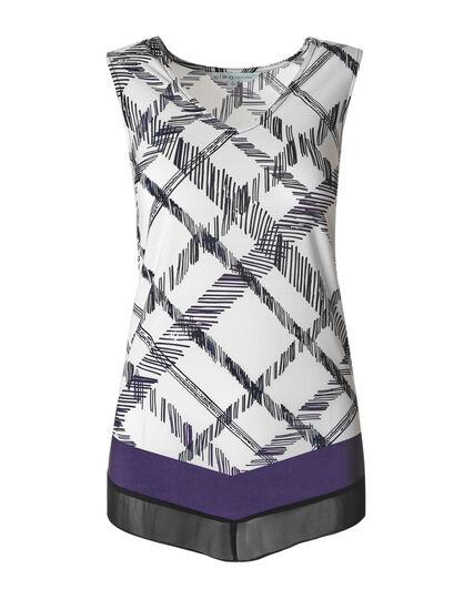 Purple Patterned Chiffon Hem Top, Purple/White, hi-res