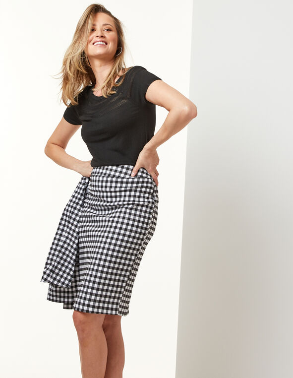 Gingham Pencil Skirt, Black/Grey/White, hi-res