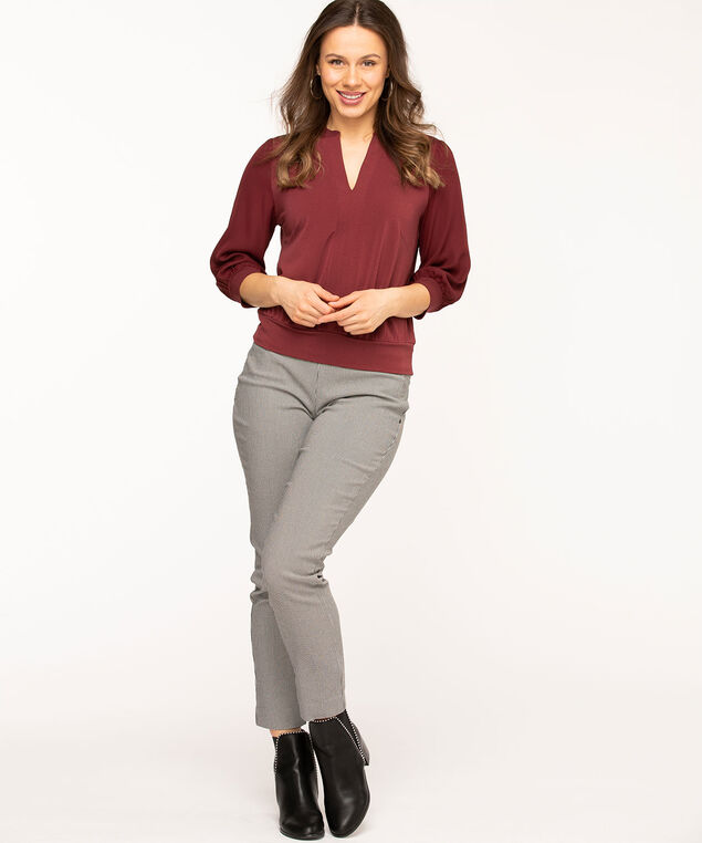 Split Neck 3/4 Mesh Sleeve Top, Wine