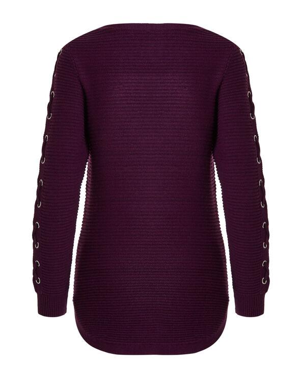 Sangria Ottoman Lace Up Sweater, Sangria, hi-res