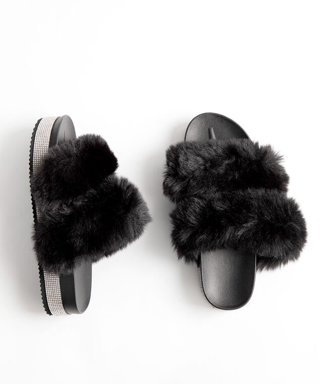 Faux Fur & Rhinestone Platform Slipper, Black