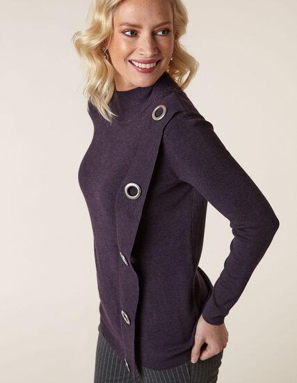 Dark Purple Wrap Styled Sweater, Purple, hi-res