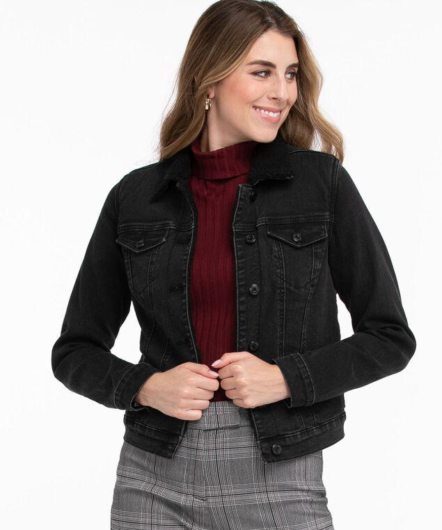 Black Sherpa Lined Denim Jacket, Black