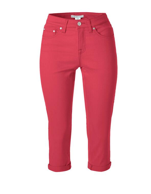 Hot Pink Denim Capri, Hot Pink, hi-res