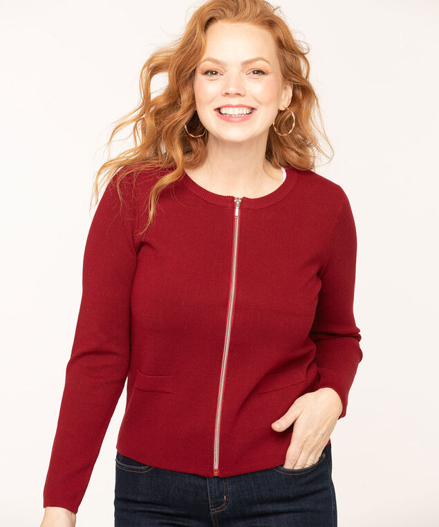 Long Sleeve Zip Front Cardigan, Red, hi-res