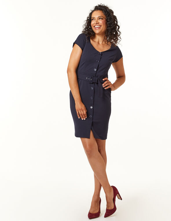 Navy Button Front Sheath Dress, Navy