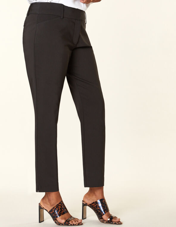 Black Slim Leg Ankle Pant, Black, hi-res