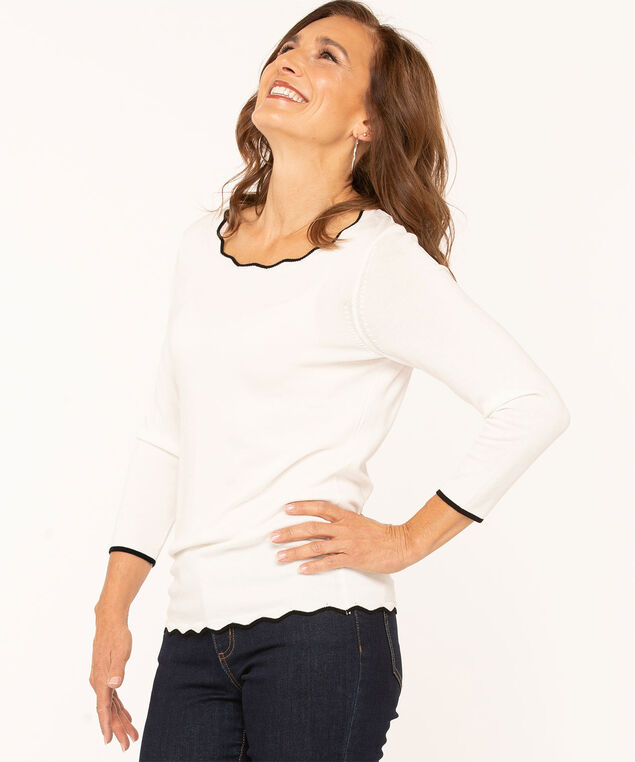 Scallop Edge Essential Sweater, Ivory, hi-res