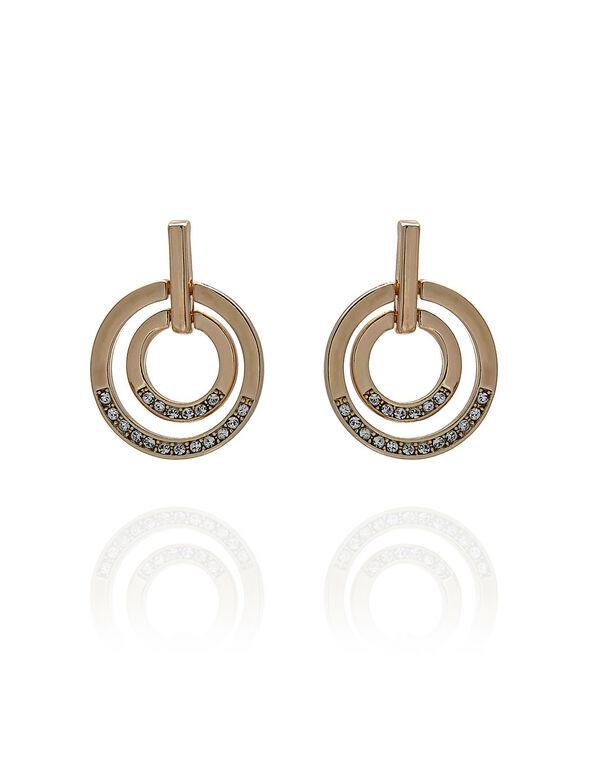 Rose Gold Circular Crystal Earring, Rose Gold, hi-res