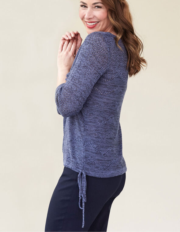 Navy Drawstring Pullover Sweater, Navy, hi-res