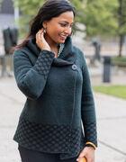 Loden Roll Neck Sweater Coat, Green, hi-res