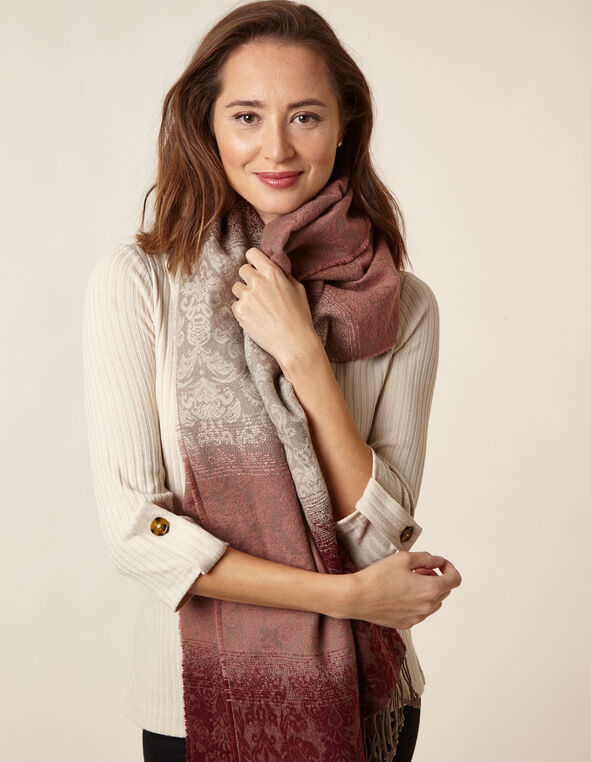 Merlot Paisley Ombre Scarf, Red, hi-res