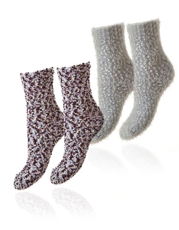 Purple & Grey Plush Sock 2-Pack, Amethyst, hi-res