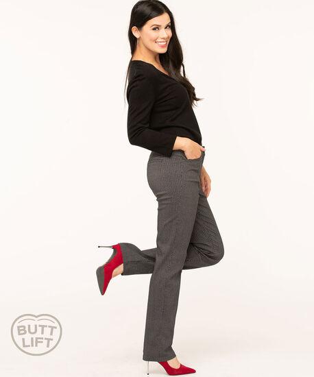 Black/Ivory Butt Lift Straight Leg Pant, Black/Ivory, hi-res