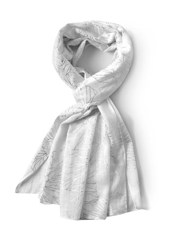 White Foil Floral Scarf, White, hi-res