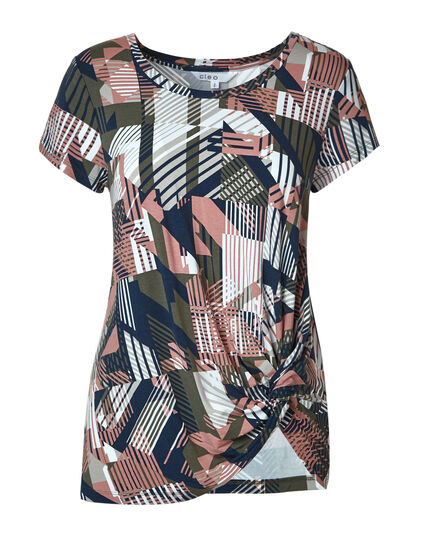 Olive Abstract Printed Knot Top, Olive/Pink, hi-res