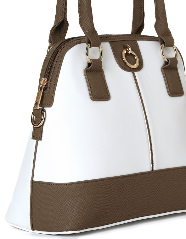 Sand Snake Trim Dome Handbag, White/Sand, hi-res