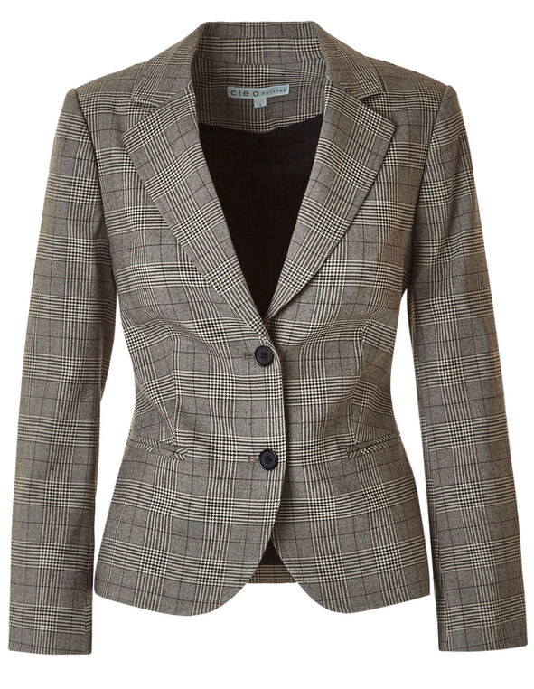 Brown Plaid Blazer, Brown, hi-res