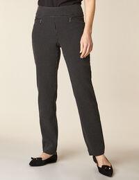 Black Patterned Zip Pull On Slim Pant