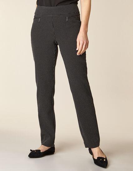 Black Patterned Zip Pull On Slim Pant , Black, hi-res