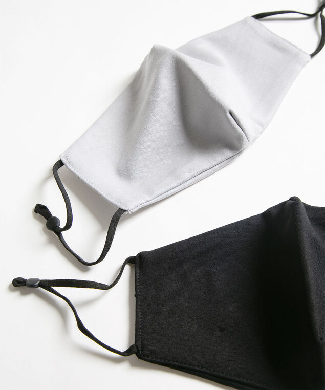 Solid Colour Face Mask Set, Black/Grey