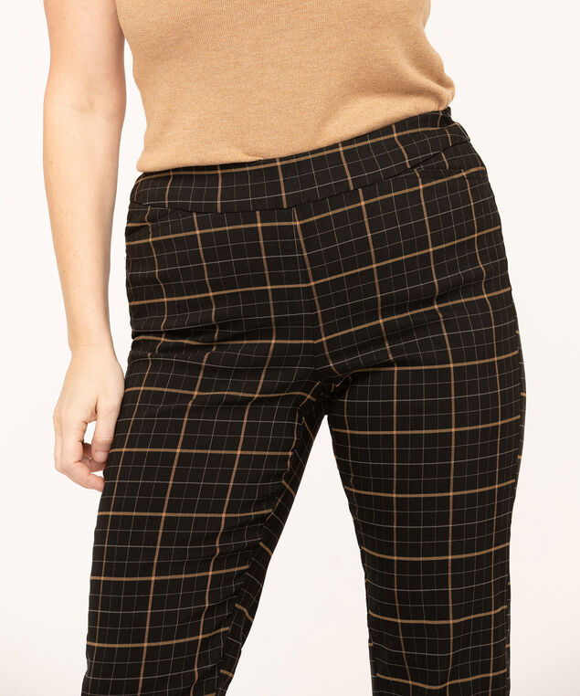 Plaid Butt Lift Slim Pant, Black/Gold, hi-res