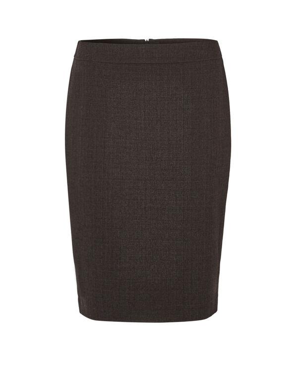 Brown Suiting Pencil Skirt, Brown, hi-res