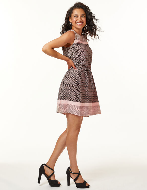 Pink Fit and Flare Dress, Pink, hi-res