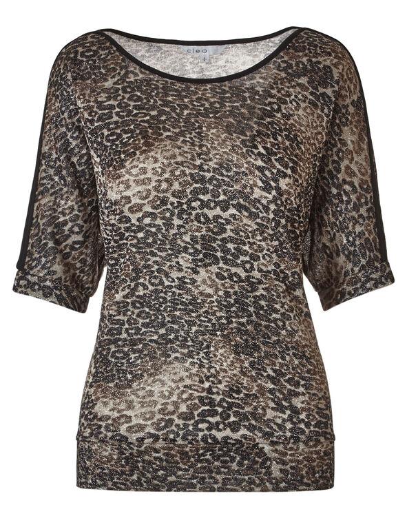 Animal Printed Dolman Sleeve Top, Neutral/Brown, hi-res