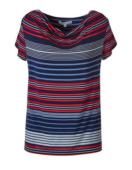 Stripe Cowl Neck Top, Stripe, hi-res