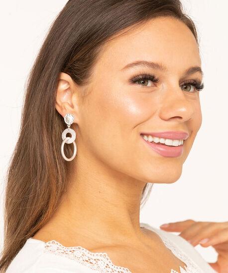 Matte Silver Double Hoop Earring, Silver, hi-res