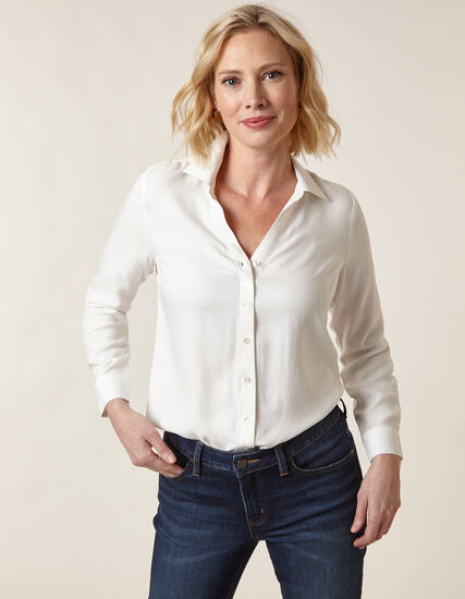 Ivory Button Front Blouse, Ivory, hi-res