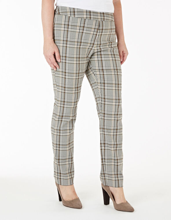Ivory Plaid Pull On Slim Pant, Ivory, hi-res