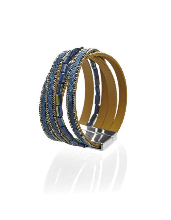Blue Magnetic Wrap Bracelet, Blue, hi-res