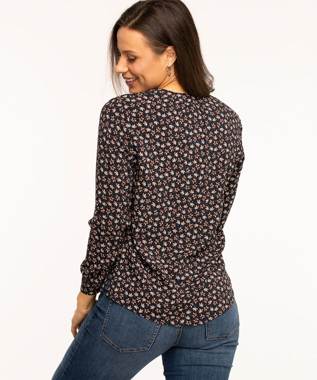 V-Neck Hidden Button Blouse, Navy Floral