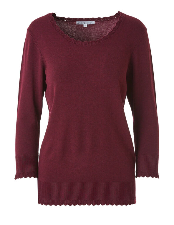 Wine Scallop Edge Sweater, Wine, hi-res