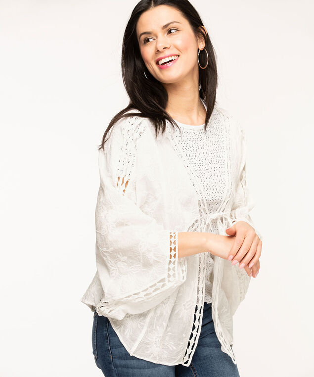White Soft Embroidered Cocoon Cover-Up, White