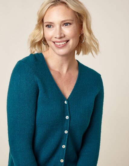 Teal Button Front Cardigan, Turquoise, hi-res