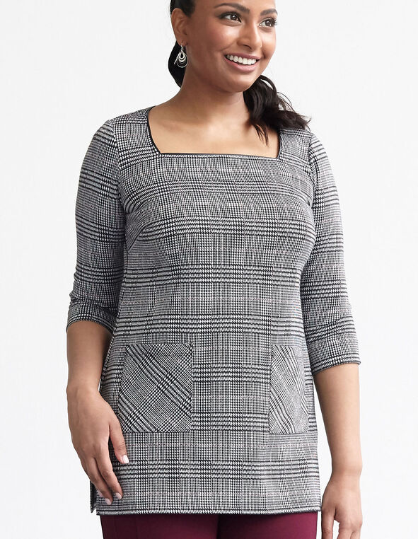Houndstooth Plaid Tunic Top, Black/White, hi-res