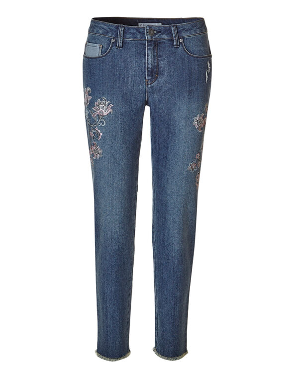 Mid Wash Floral Ankle Slim Jean, Mid Wash, hi-res