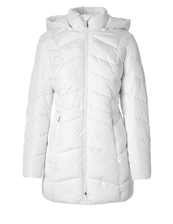 White Short Faux Down Coat, White, hi-res