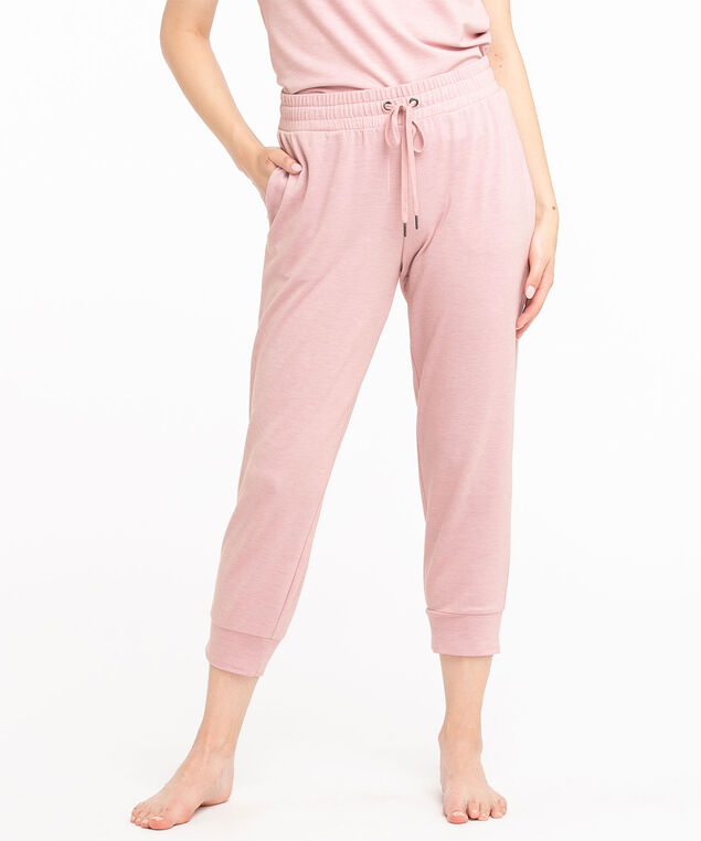 French Terry Capri Jogger Pant, Soft Pink Melange